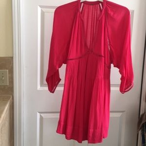 Anthropologie long  sleeve got pink mini dress